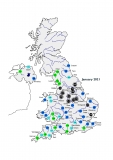 Map showing mean river flows for the UK during January 2021